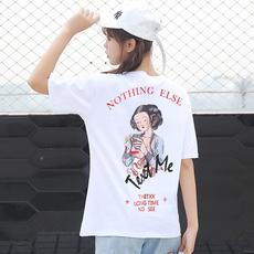 9547#纯棉实拍人物印花白色T恤女短袖2018新款夏中长款半袖上衣