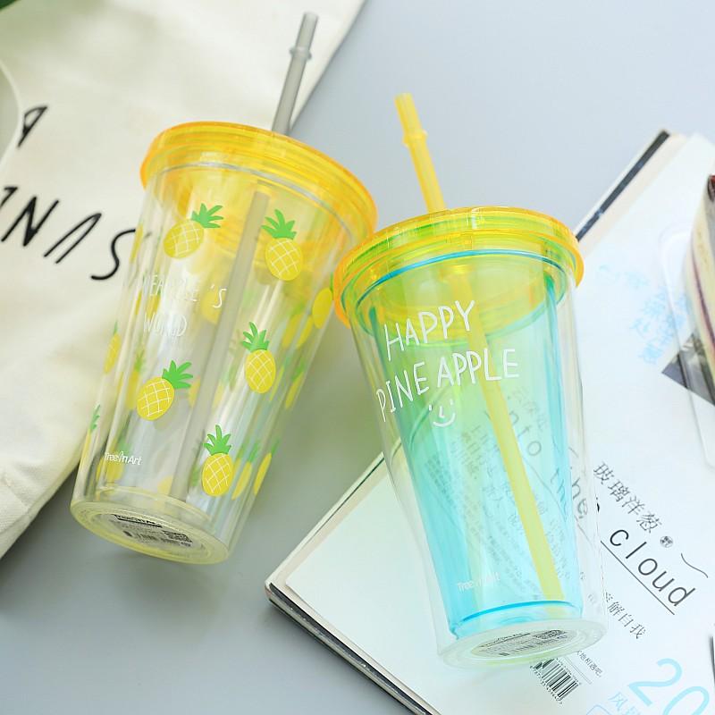 夏日水果万岁韩国双层制冷杯子创意环保塑料带盖吸管水杯饮料杯