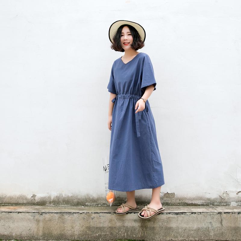 Suji Ange thiết kế ban đầu vòng cổ váy dài văn học retro kho báu màu xanh lỏng rắn màu váy mùa hè