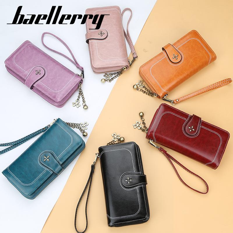 baellerry 女士复古油蜡皮多卡位手拿包时尚百搭卡包长款钱包女