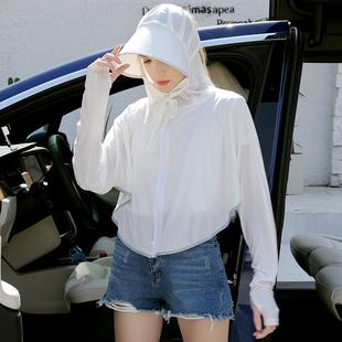 上海故事夏季防晒衣女长袖薄款带帽白色骑电动车开车短款防晒披肩