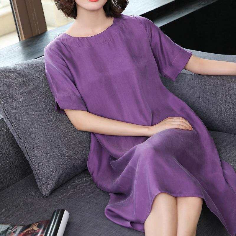 夏季新款真丝大码中长款红色真铜氨丝连衣裙