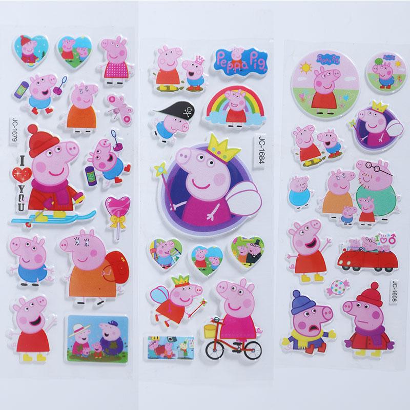 粉红小猪贴画3D儿童贴纸粉红猪佩琪立体泡泡贴小妹佩琪卡通小粘贴