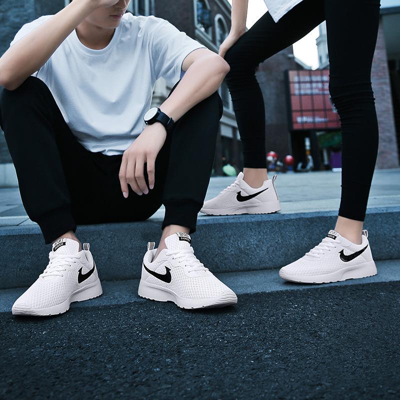 新情侣款 夏季男鞋透气韩版休闲鞋运动鞋镂空飞织耐磨网面潮流单