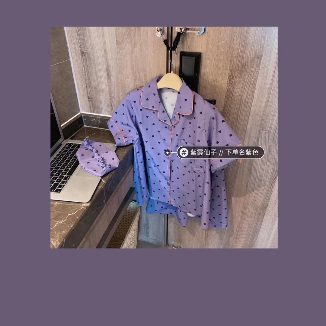 微商爆款 夏季新款夏日雪紡絲印花三色睡衣三件套送眼罩家居服