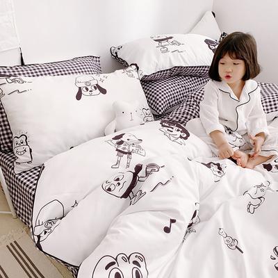 晚安猫精梳卡通全棉四件套学生宿舍可爱单人被套1.5双人纯棉床单