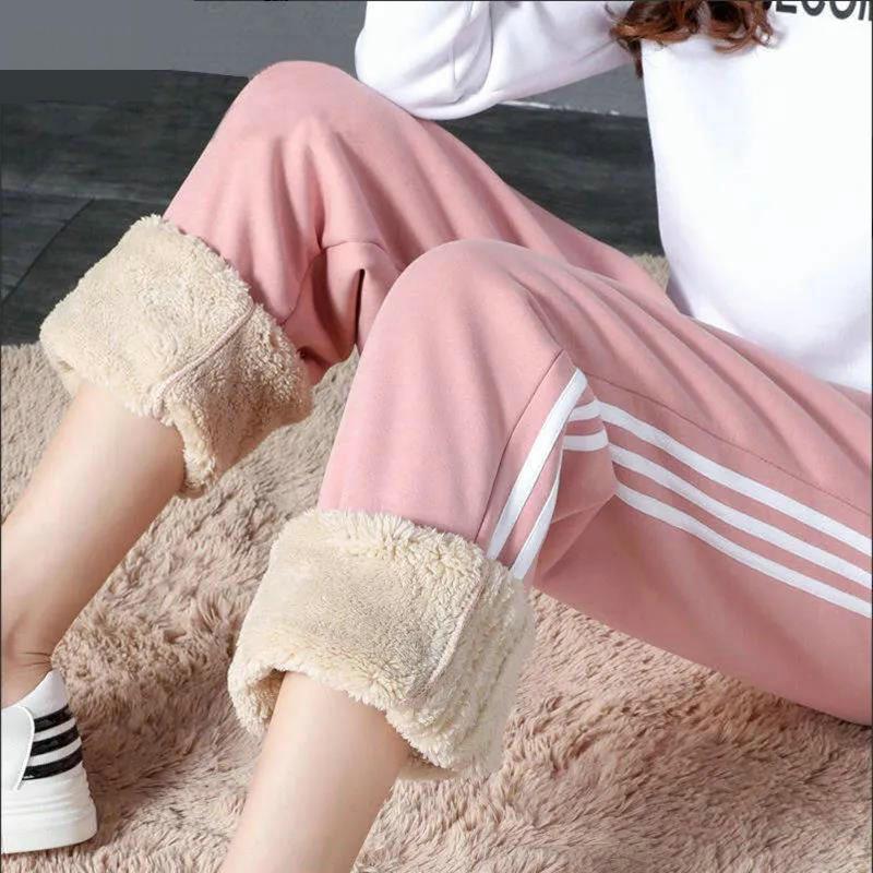 新款韩版秋冬加绒加厚羊羔绒卫裤