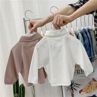 女童娃娃领衬衫春秋季新款百搭衬衣宝宝洋气百搭纯色上衣