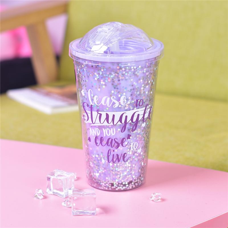 少女心清新随手水杯 ins韩版双层吸管杯防加厚塑料杯子夏季冰杯
