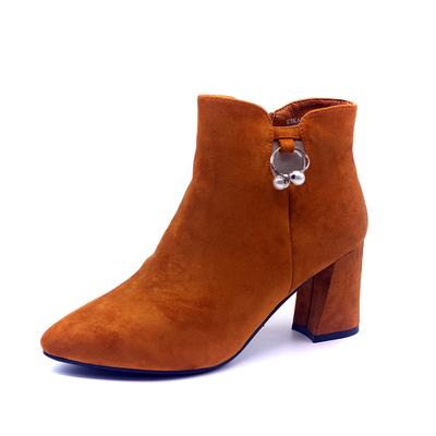 珂卡芙新品冬季女靴子女短筒靴子圆头高跟韩版时装休闲百搭通勤潮