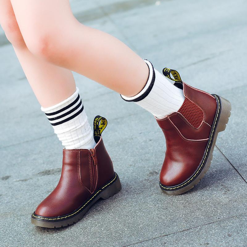 女童马丁靴女童靴子秋冬短靴儿童雪地靴