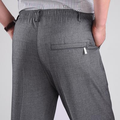 Mùa hè phần mỏng trung và cũ người đàn ông tuổi của quần cha đàn hồi eo quần âu quần cũ lỏng cao eo squat quần dài