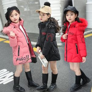 2019新款时尚冬装女童棉衣加厚中长款冬季儿童棉服宝宝棉袄外套