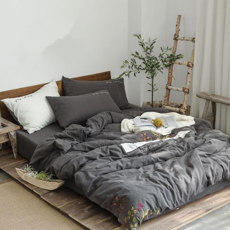 简约全棉水洗棉四件套 刺绣花草文艺小清新纯棉被套床单床笠床品