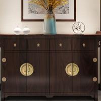 新中式纯铜拉手现代简约衣柜抽屉高端把手实木门家具黄铜圆形拉手