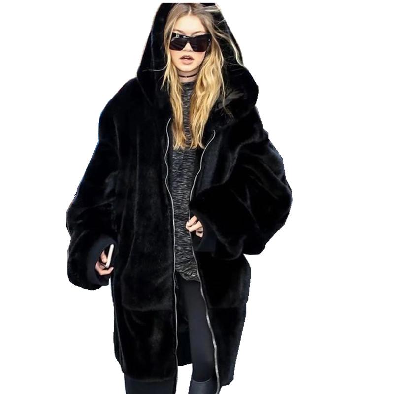 2017 mùa thu và mùa đông mới lớn tên Châu Âu và Mỹ giả lông thú áo dài lỏng trùm đầu ấm fur coat dày đen