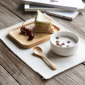 Hiện đại Bà Nội Trợ Nhật Bản-phong cách một mảnh gốm bộ dao kéo nhà ăn sáng đặt rắn gỗ snack tấm khay