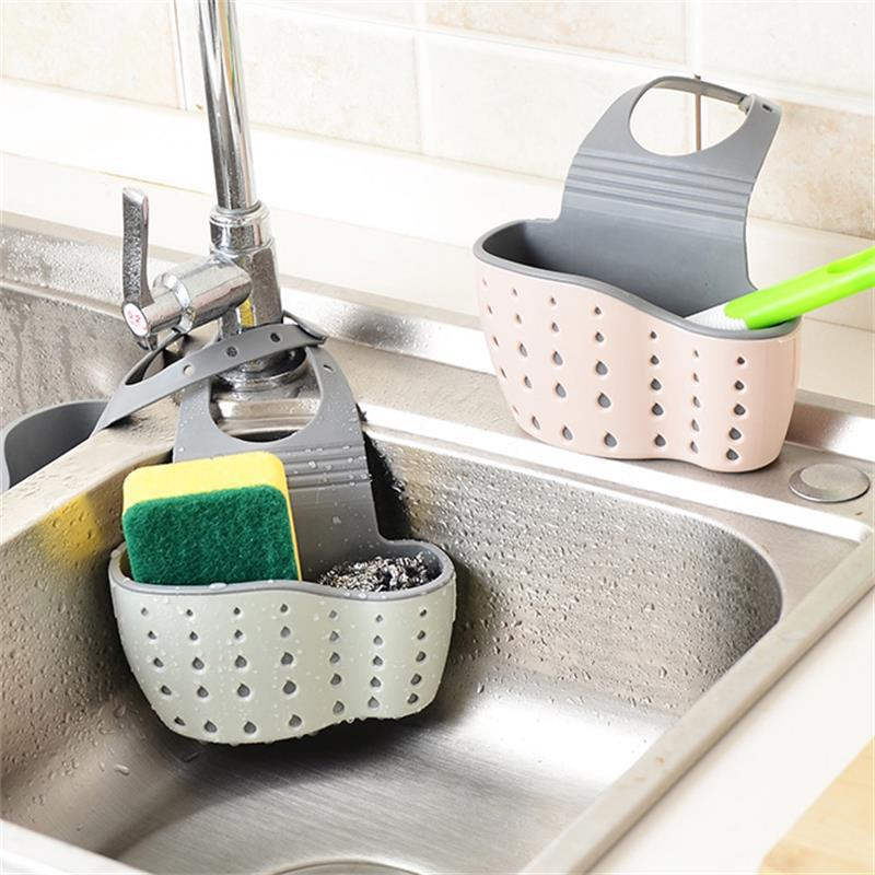 廚房水槽瀝水籃掛袋水龍頭海綿置物架洗菜洗碗水池免打孔收納掛籃
