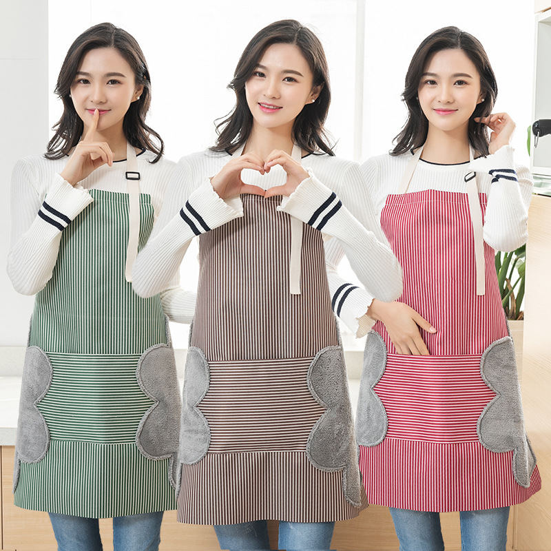 日式防水防油可擦手围裙时尚家用家务耐用工作成人厨房做饭罩衣女