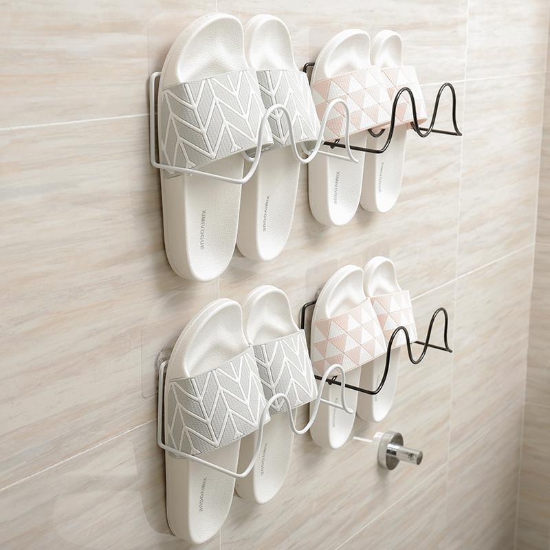 浴室拖鞋架壁挂式家用经济型门后鞋子收纳神器吸壁式卫生间置物架