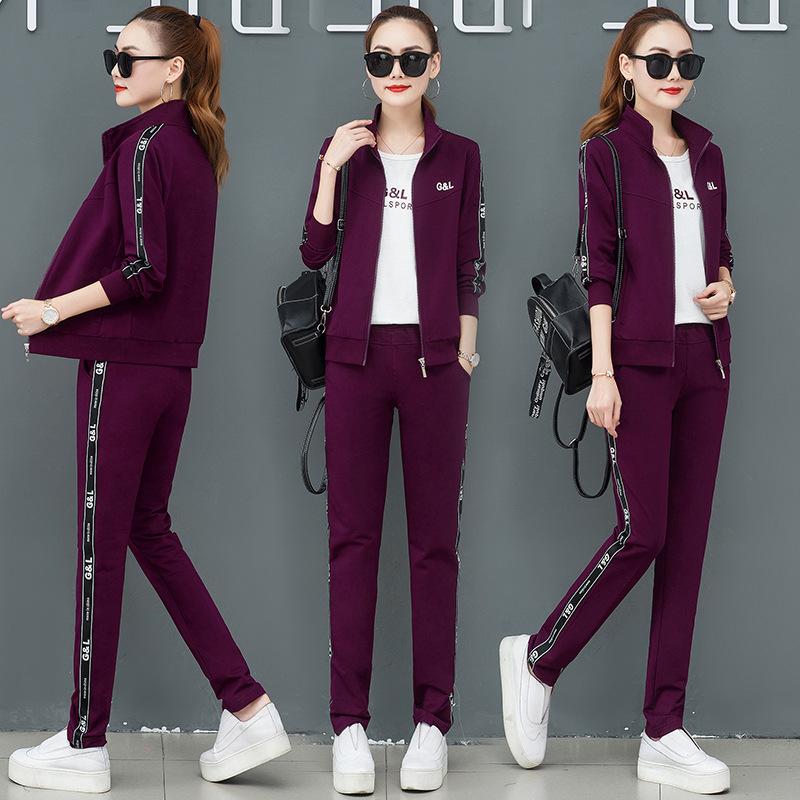 实拍运动套装女2019新款三件套时尚休闲运动服韩版卫衣两件套显瘦