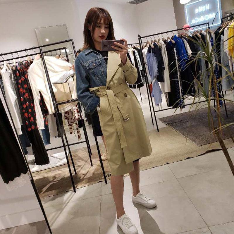 MOMO FAN2018 mùa thu denim khâu áo gió nữ dài coat dài tay áo áo MA183TRC109