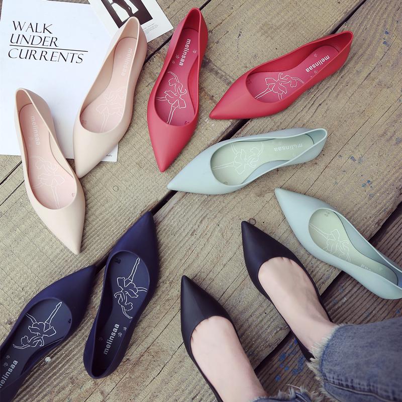 Chính hãng melinsaa phẳng- đáy thạch giày nông miệng mưa khởi động của phụ nữ cao su giày bốn mùa không trượt giày làm việc không thấm nước