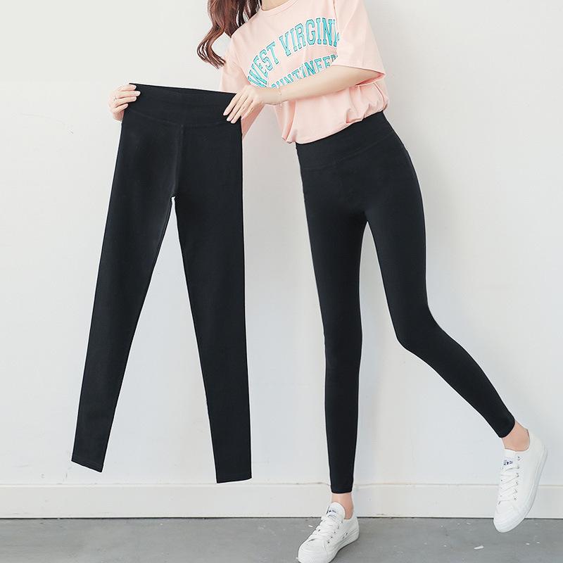韩版女装高腰薄款打底裤大码铅笔裤斜纹显瘦小脚裤有口袋九分裤-给呗网