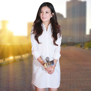 【琪莉娅】大码长袖衬衫裙
