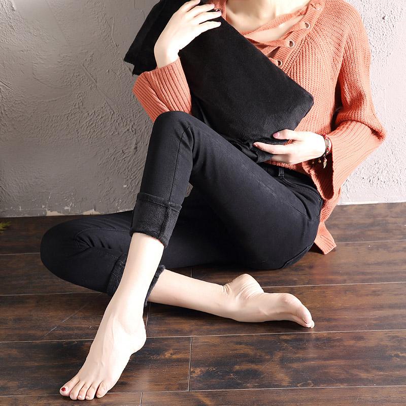 加绒加厚黑色宽松高腰冬季直筒常规牛仔裤女春秋2018新款韩版显瘦