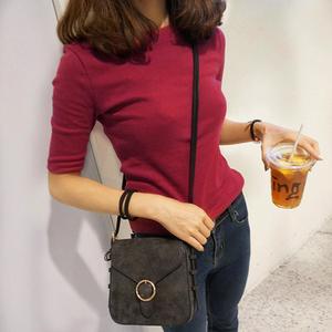 韩中袖T恤女显瘦圆领修身打底衫