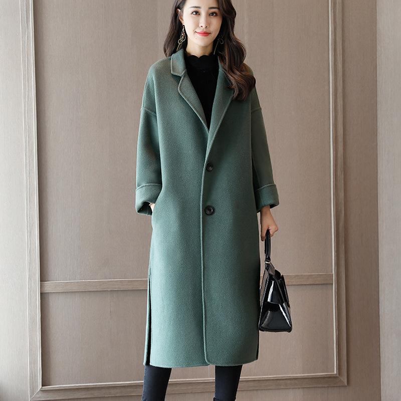 54呢子羊绒大衣女中长款过膝2018秋冬新款宽松韩版毛呢外套