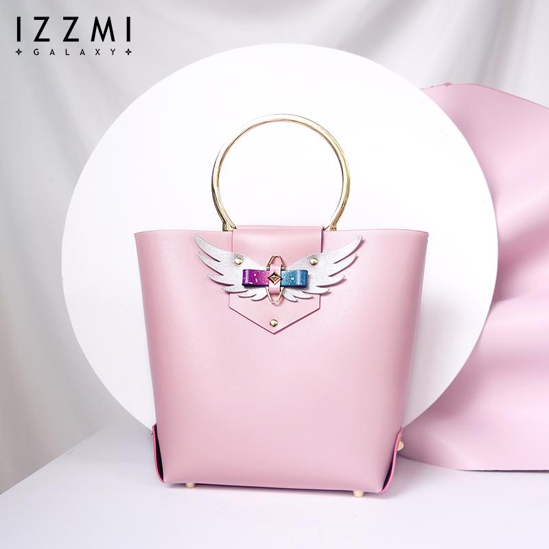 〈izzmi〉原创设计星空蝴蝶结翅膀手提包女真皮桶包百搭女士包包