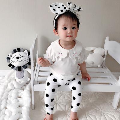 蓓莱乐男宝宝秋装娃娃领短袖0衣服薄款T恤婴儿女童3个月1岁休闲服