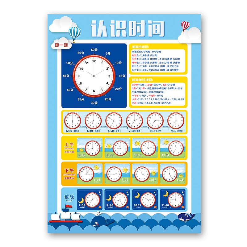 学前幼儿认识时间挂图 早教启蒙幼儿园儿童学习钟表无声 校长学具