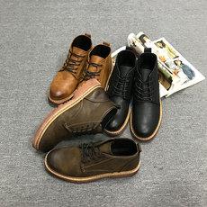冬季男士短靴高帮男鞋防水防滑保暖加绒棉鞋马丁靴英伦靴子 153#