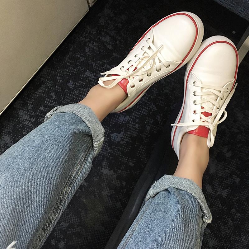 圆头厚底系带真皮小白鞋