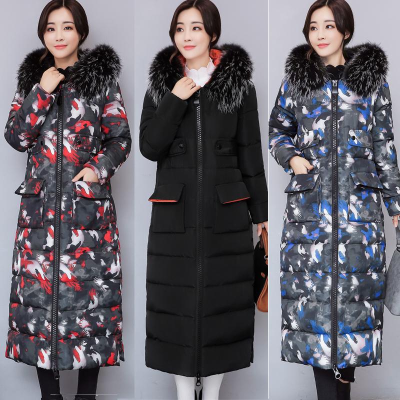 Chống mùa giải phóng mặt bằng bông áo phụ nữ cộng với dài đầu gối Hàn Quốc phiên bản của mỏng bông áo khoác lông cổ áo dày đặc biệt điều trị bông quần áo