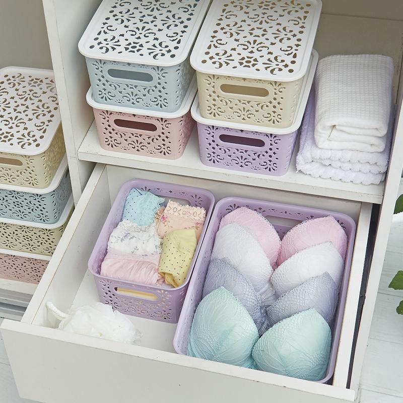 居家家镂空桌面内衣收纳盒抽屉塑料整理箱家用有盖文胸内裤收纳箱