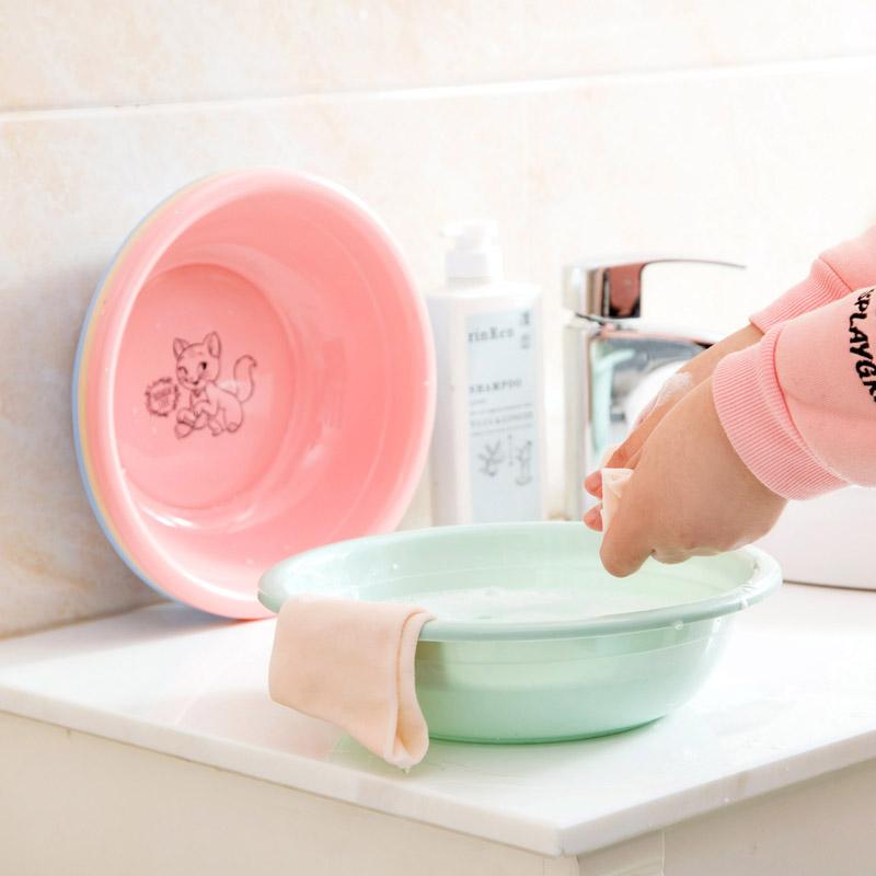 居家家 可爱卡通脸盆宝宝家用塑料洗手盆 儿童小号盆子婴儿洗衣盆