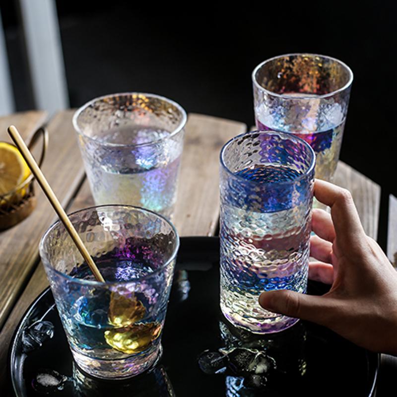 手工炫彩锤纹玻璃杯彩虹水杯日系