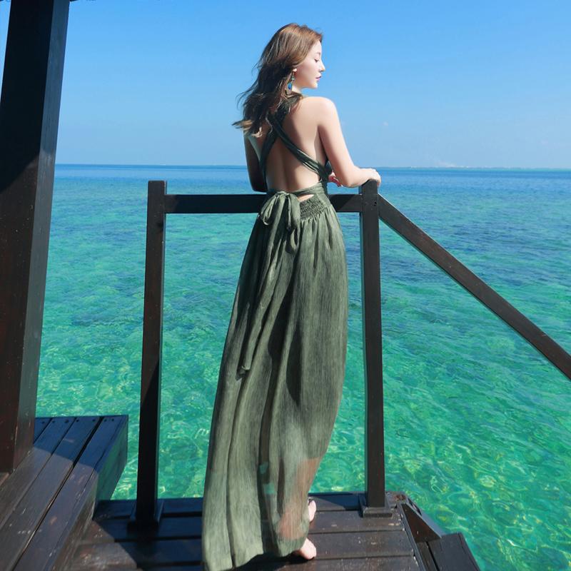 夏装新款海边度假性感露背沙滩裙女神挂脖绑带海滩长裙显瘦连衣裙