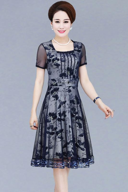 Mùa xuân phụ nữ trung niên của mẹ ăn mặc áo dài 40-50 tuổi ngắn tay mùa hè trung niên của phụ nữ váy
