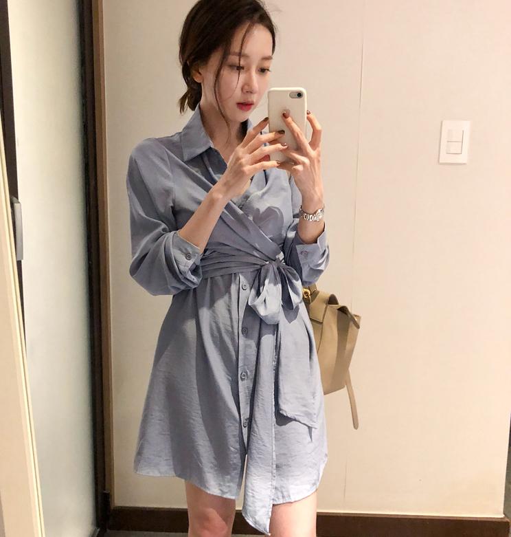 新春 显白蓝色 腰部绑带设计气质衬衫连衣裙女2740