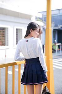 实拍 TB风格 学院A字显瘦双层一片式纽扣高腰百褶半身裙短裙C120