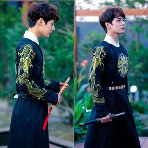 Triều Hán và nhà Đường cải thiện những người yêu thích nam giới của CPfu tải áo giáp thêu cổ tròn thêu trở lại trang phục theo phong cách cổ xưa
