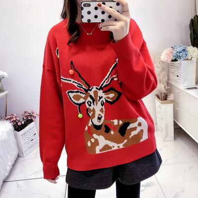 冬季新款半高领毛衣女套头宽松针织卡通图案针织毛衣上衣