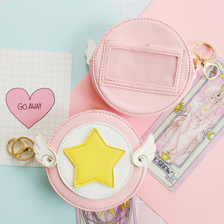 Anime Card Captor Sakura Kinomoto Sakura PU Coin Bag Card Holder Purse Wallet