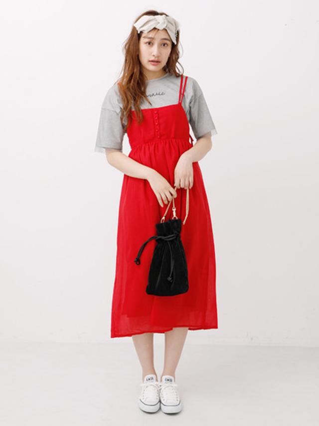 Nhật bản ban đầu eme 18 mùa hè mới item ngực dây đeo chiều rộng loose dress OP