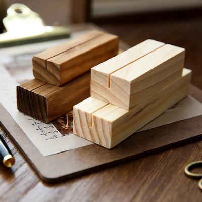 复古原木夹子文具 桌面便签留言夹 办公明信片照片名片夹摆件立式
